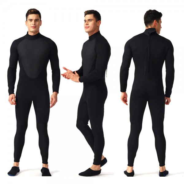Black Warm Wetsuit For Men 3MM SCR Neoprene Back Zip Full Diving Suit Swim Jumpsuit