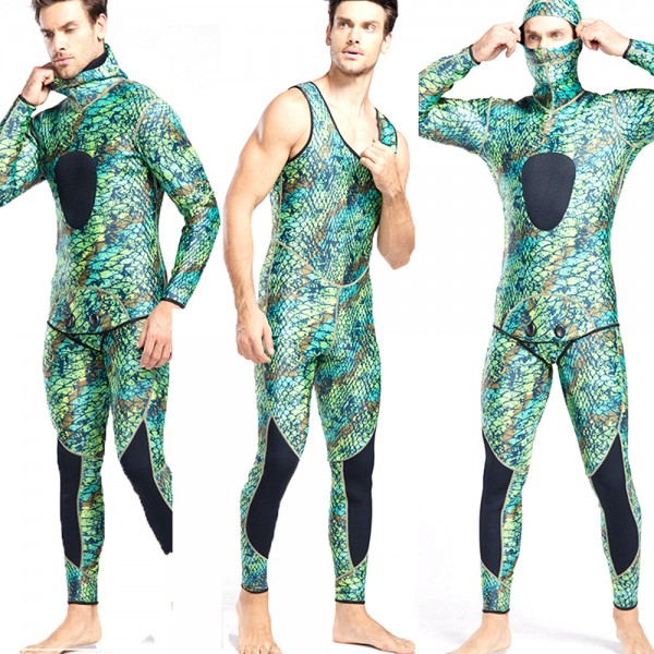 Men 2Pcs Hooded Wetsuit Snakeskin Camouflage Print 3MM SCR Neoprene Full Diving Suit Swimsuit
