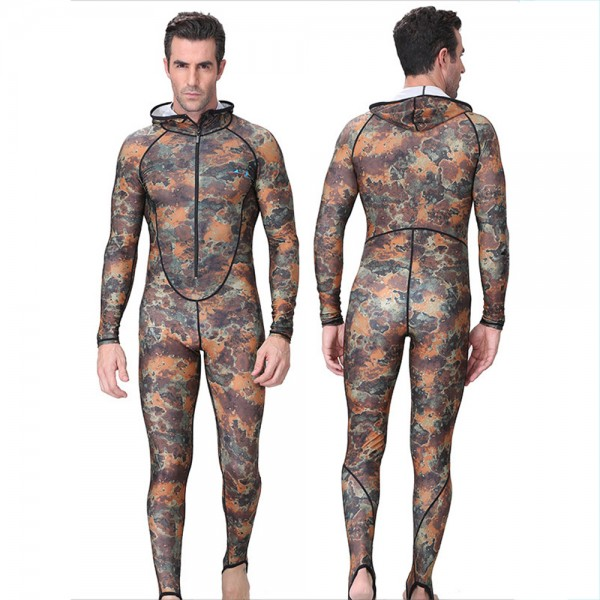 Men's Rash Guard Dive Skin Suit Fast Dry Fullbody Hooded Wetsuit Surfing Swimwear