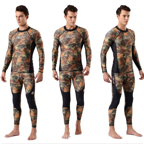 Two Pieces Rash Guard Lycra Wetsuit For Men Quick Qry Swim Dive Fullsuit