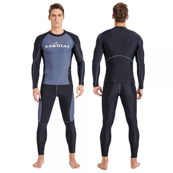 Elastic Rash Guard Quick Dry Men's Two Pieces Wetsuit Surfing Dive Jumpsuit