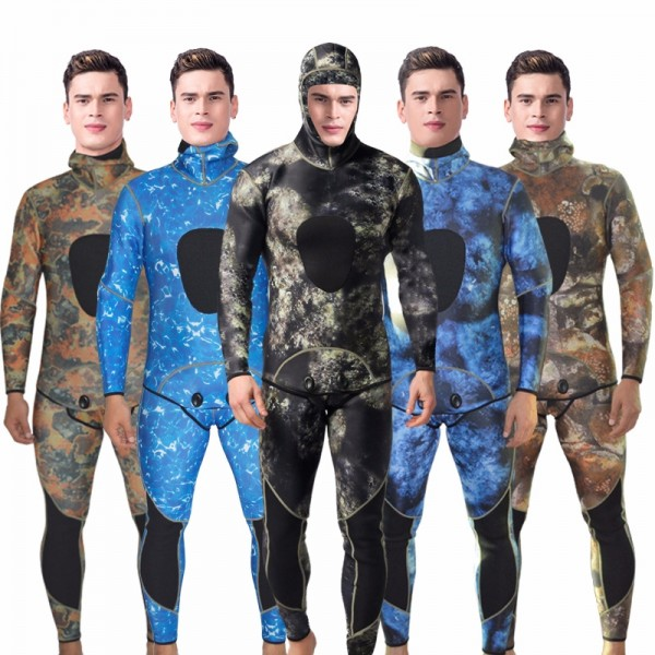 2Pcs Men's 3MM Camouflage Wetsuit Discount Hooded Neoprene Snorkeling Fishing Diving Fullsuit