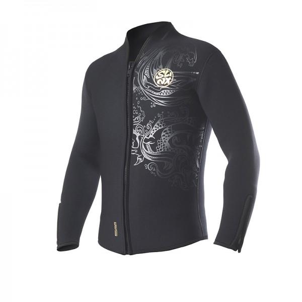 5MM Front Zip Long Sleeve Top Wetsuit Jacket for Men