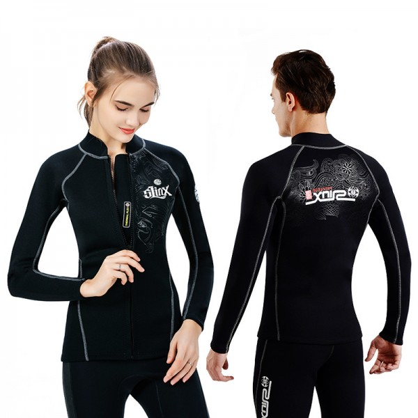 Unisex 2MM Front Zip Long Sleeve Top Wetsuit Jacket for Adult