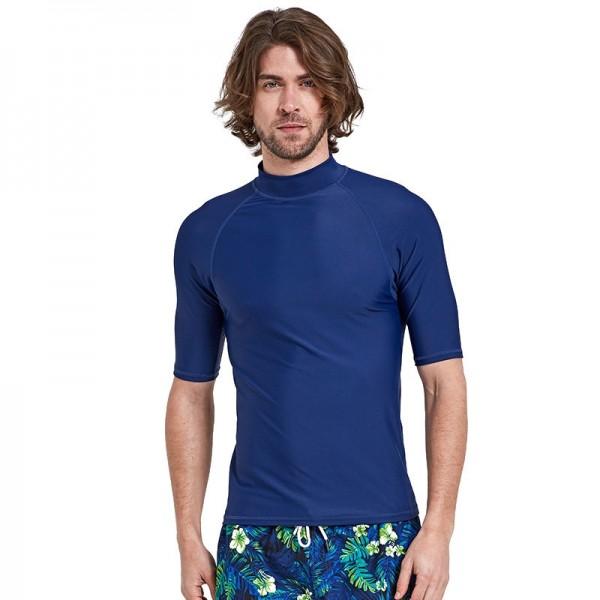 Mens Short Sleeves Rash Guard Shirt Simple Quick Dry Pro Light Swimwear Swim Trunks