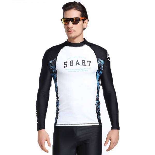 Mens Long Sleeves Rash Guard Shirt Quick Dry Pro Light Black Swimwear