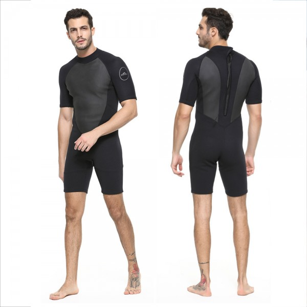 Men's Spring Shorty Wetsuit 2MM SCR Neoprene Rash Guard Swim Diving Jumpsuit