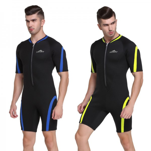 Men 2MM SCR Neoprene Warm Shorty Springsuit Front Zip Wetsuit Rash Guard Swimwear
