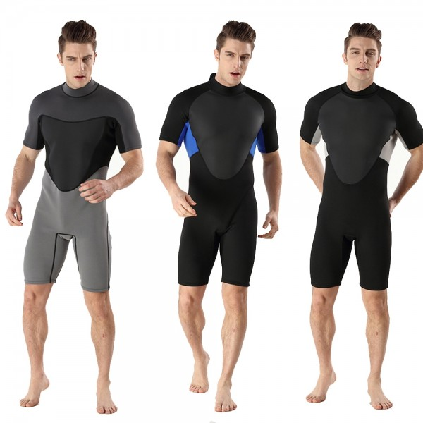 Men Shorty Springsuit 2MM SCR Neoprene Warm Wetsuit Rash Guard Back Zip Swimwsuit