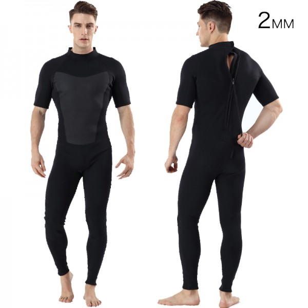 2MM SCR Neoprene Men's Short Sleeve Fullsuit Warm Wetsuit Back Zip Swimwsuit