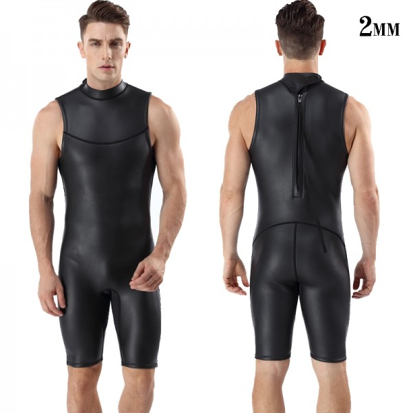 2mm Men's Sleeveless Springsuit Back Zip Short John Triathlon Wetsuit