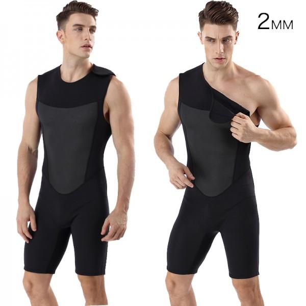 2MM Neoprene Black Shorty Springsuit Men's Warm Wetsuit Swimwsuit