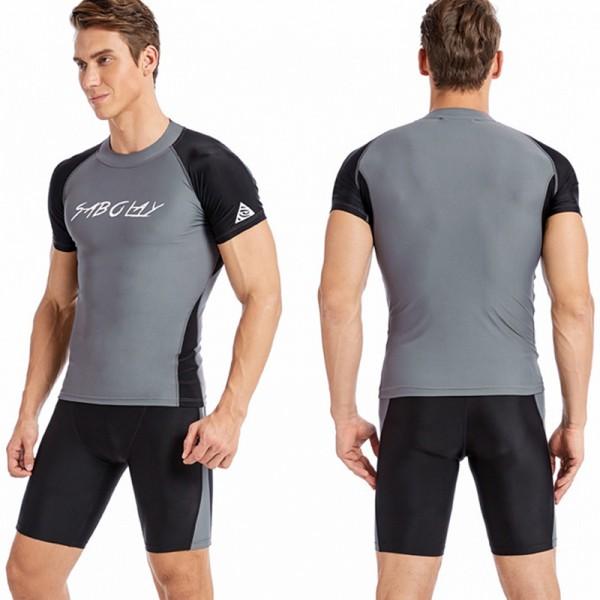 Men's Grey 2Pcs Quick Dry Wetsuit Shorty Springsuit Swimwear
