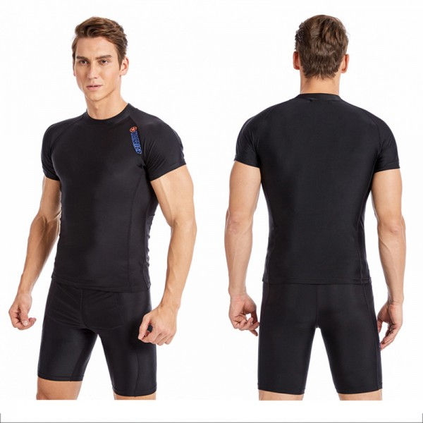 2Pcs Rash Guard Quick Dry Surfing Wetsuit Men's Shorty Springsuit Swimwear