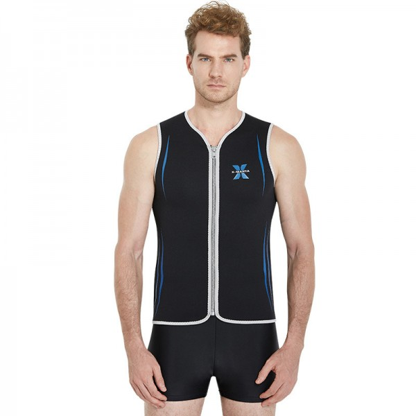 Black Neoprene 3MM Warm Wetsuit Top Vest For Men