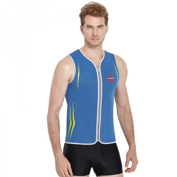 Blue Neoprene 3MM Warm Wetsuit Top Vest For Men