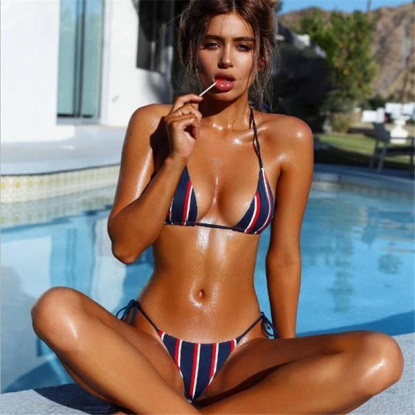 Blue Stripe Triangle Bikini Set