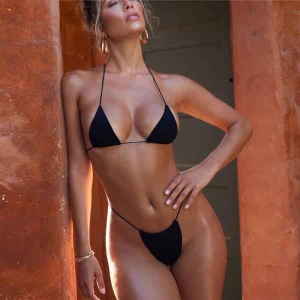 Sexy Red Black Strappy Bikini Set
