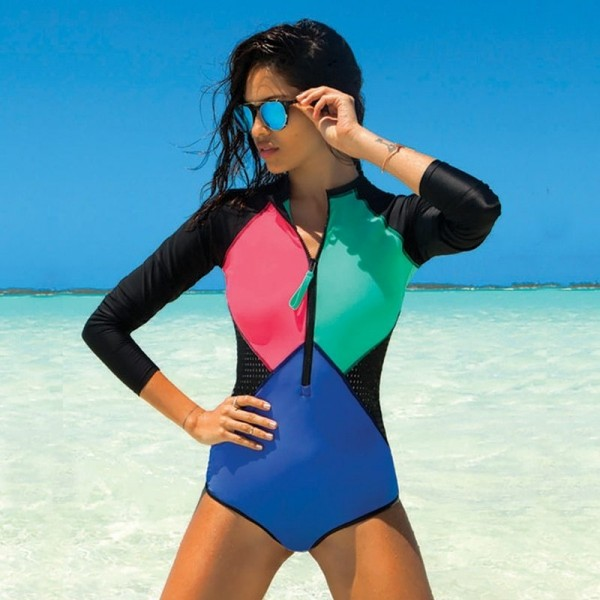 Womens Bathing Suits With Long Sleeves Front Zip