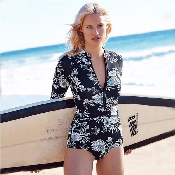 Long Sleeve One Piece Swimming Surf Suit Black Print Zip Up
