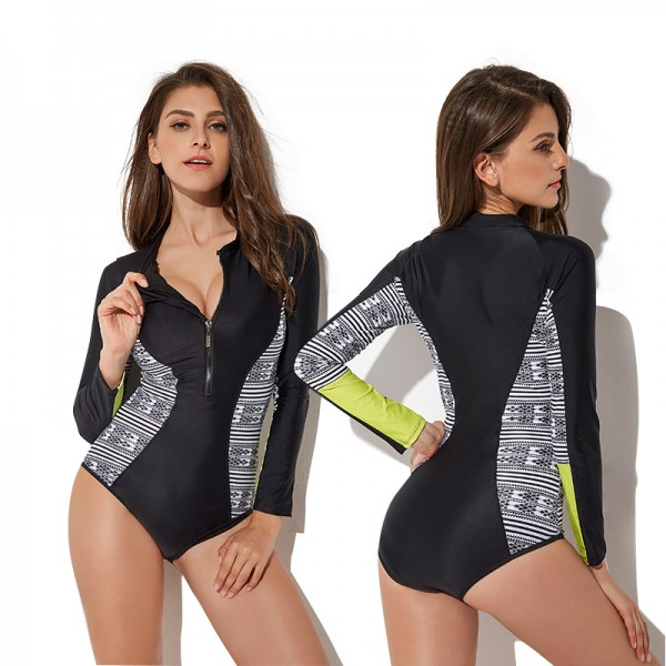 Long Sleeve Black Zip Up One Piece Bikini Swimsuit Bathing Suit