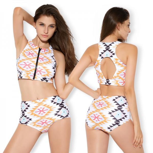 Women'S 2 Piece Swimsuits Zip Up Bathing Suit