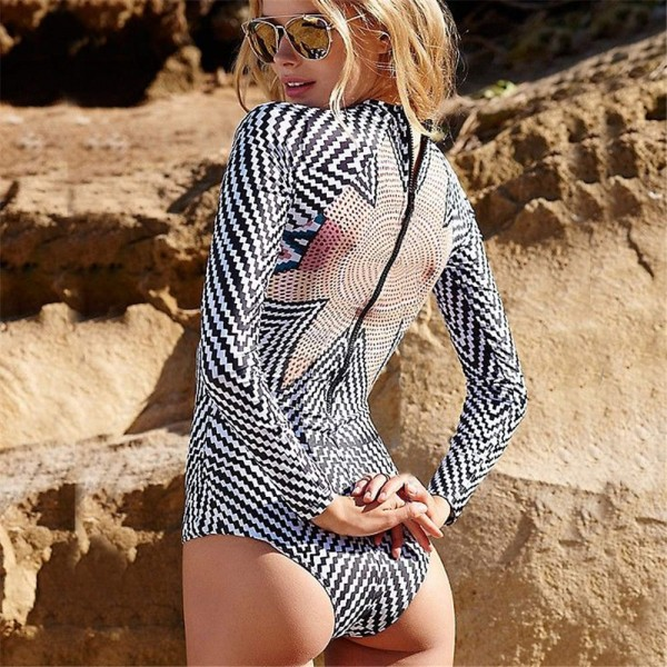 One Piece Swimsuit Womens Bathing Suit With Long Sleeves