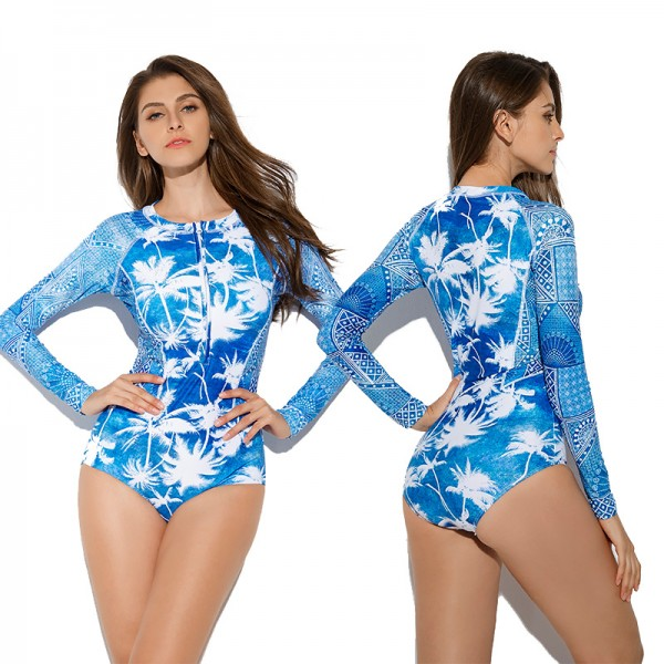Blue One Piece Swimsuit Bathing Suit For Women With Long Sleeves