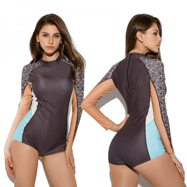 One Piece Swimwear Bathing Suit With Long Sleeves Back Zip