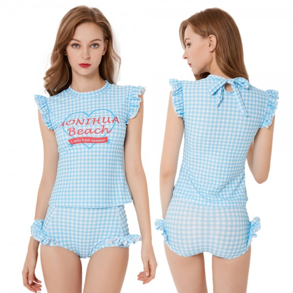 Cute Two Piece Swimsuit Womens Sky Blue Plaid Swimwear Rashguard