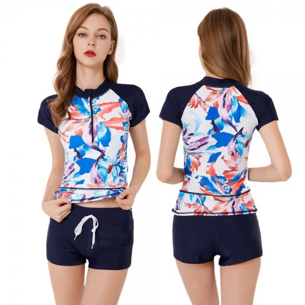 Womens Short Sleeve Rash Guard Swimsuit Print