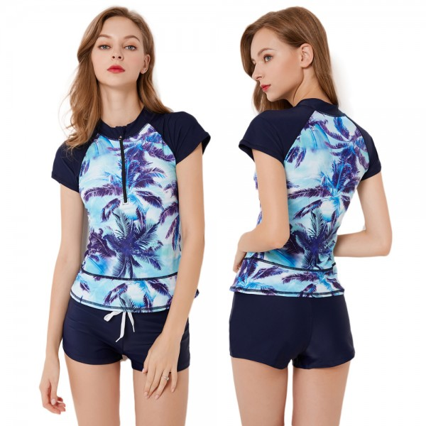 Womens Short Sleeve Rash Guard Swimsuit Blue Print