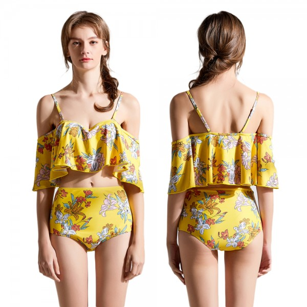 High Waist Two Piece Yellow Swimsuit Womens Bathing Suit Set