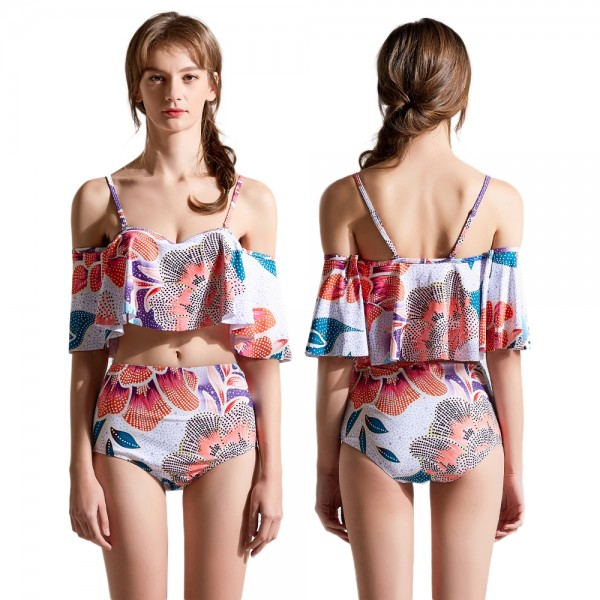 High Waist Two Piece Swimsuit Womens Bathing Suit Set