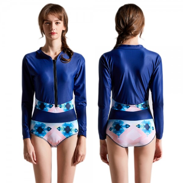 High Neck One Piece Swimsuit Long Sleeves Blue Rash Guard