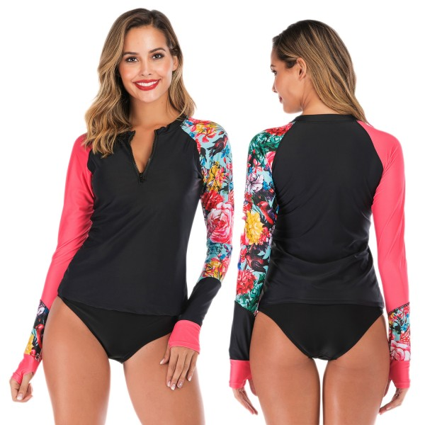 Two Piece Rash Guard Womens Tankinis Swimwear Floral Print
