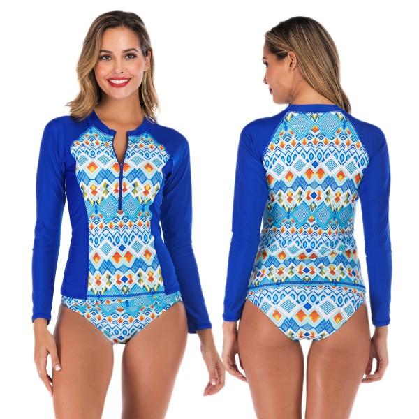 Two Piece Rash Guard Womens Tankinis Swimwear Blue Print