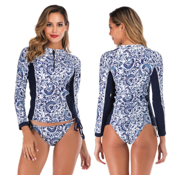 Long Sleeve Womens Rash Guard Swimwear Tankinis Blue Print