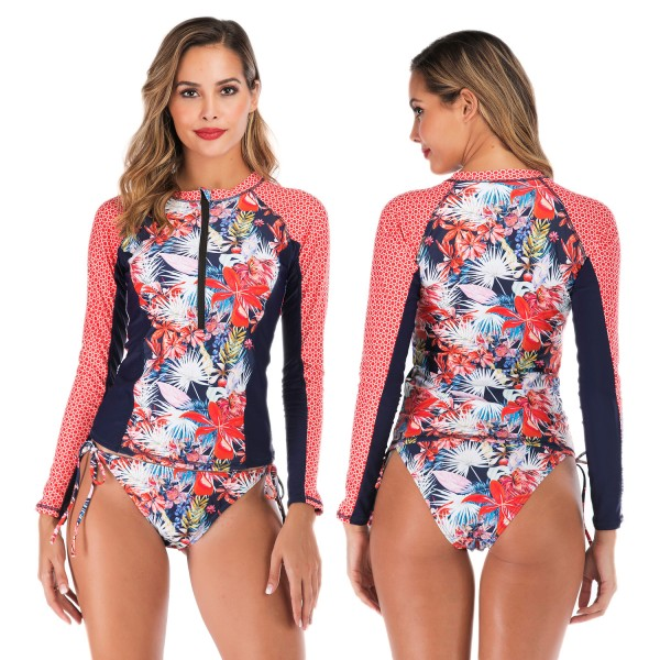 Two Piece Rash Guard Womens Tankinis Swimsuit Bathing Suit With Long Sleeves