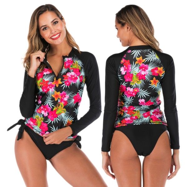 Long Sleeve Two Piece Tankinis For Women Swimsuit Front Zip