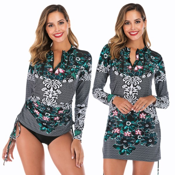 Long Sleeve Two Piece Tankinis For Women Black Swimsuit Dress Print