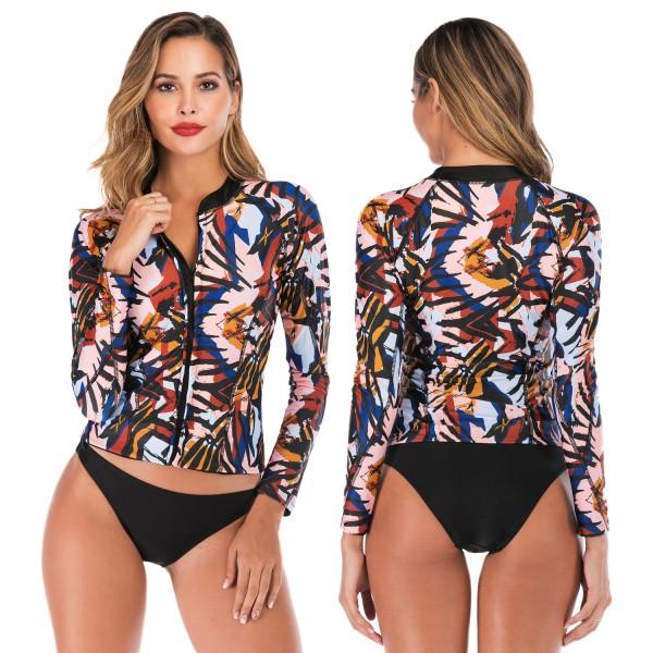 Two Piece Tankinis For Women Swimwear Rash Guard With Long Sleeves Print