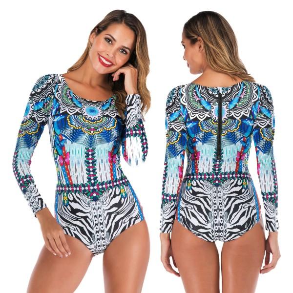 One Piece Long Sleeve Womens Swimsuit Swimwear Blue Print