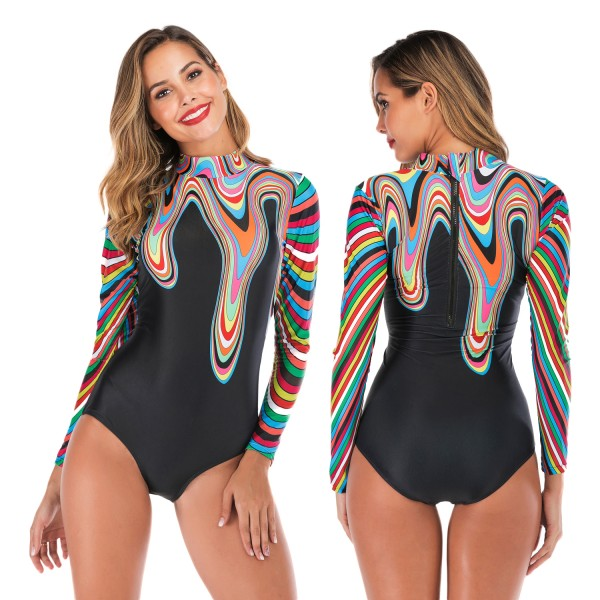 Long Sleeve High Neck Rash Guard Womens One Piece Swimsuit Bathing Suit