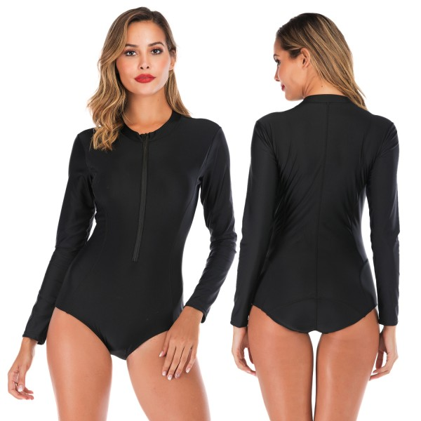 Black Two Piece Swimsuit Womens Bathing Suit With Long Sleeves
