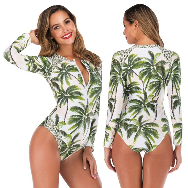 Front Zip Womens Rash Guard With Long Sleeves Coconut Tree Print One Piece Swimsuit