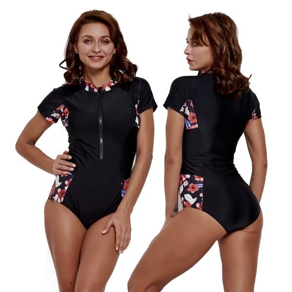Black One Piece Womens Swimsuit Short Sleeves Rash Guard Surf Suit