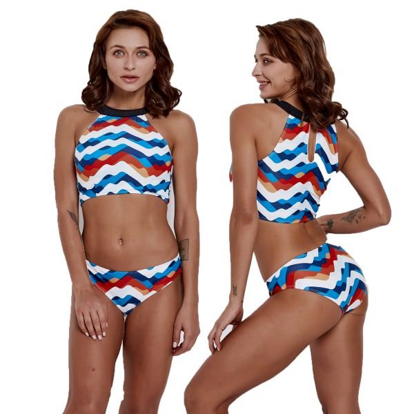 Womens Two Pieces High Neck Blue Swimsuit Bikini Bathing Suit