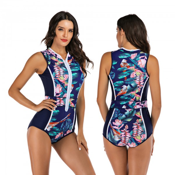 Women's Rash Guard Blue Printed One Piece Swimsuit