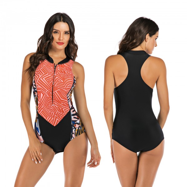 Floral Printed One Piece Swimsuit Sleeveless Surfing Rashguard